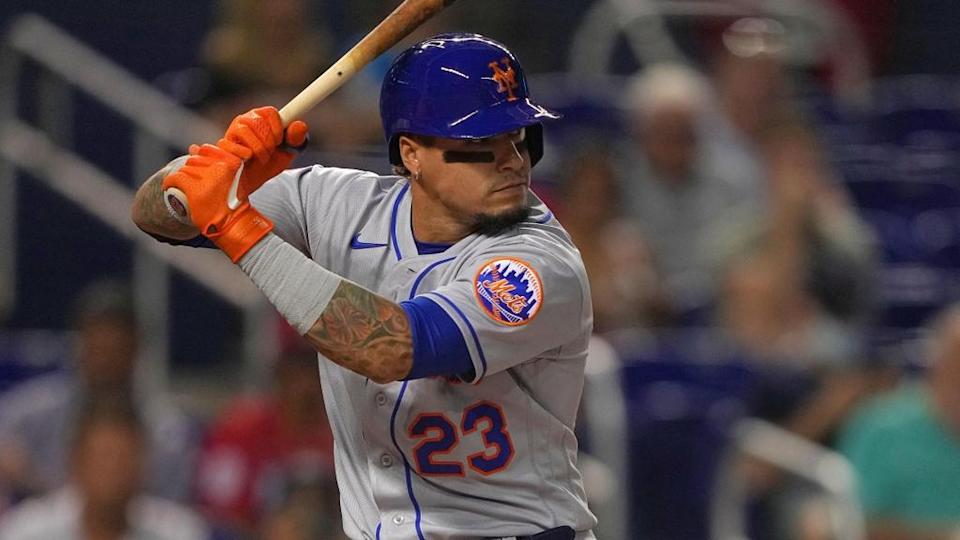 Javier Baez waiting on pitch in Miami August 2021