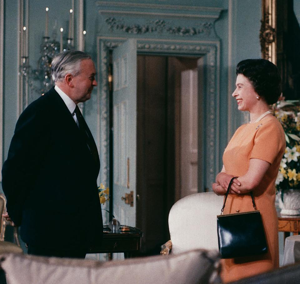 Queen Elizabeth II with British Prime Minister Harold Wilson (1916 - 1995), June 1969. (Photo by Fox Photos/Hulton Archive/Getty Images)
