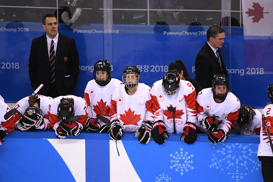 <p>Team Canada reacts after losing in a shootout to United States during the Women's Gold Medal Game on day thirteen of the PyeongChang 2018 Winter Olympic Games at Gangneung Hockey Centre on February 22, 2018 in Gangneung, South Korea. (Photo by Harry How/Getty Images) </p>