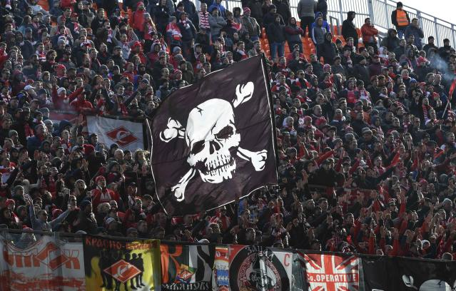 Soccer Football - Russian Football Championship - Ural vs Spartak Moscow - Ekaterinburg Arena, Yekaterinburg, Russia - April 15, 2018 Spartak Moscow's fans cheer their team. REUTERS/Sergei Karpukhin