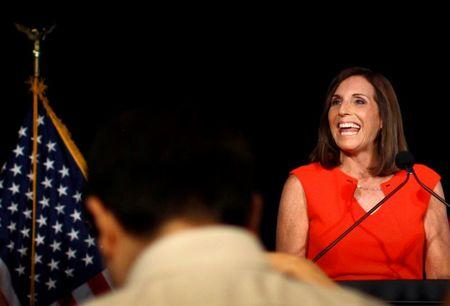 Martha McSally greets her supporters on election night after winning the Republican primary for the open U.S. Senate seat in Tempe, Arizona, U.S. August 28, 2018.  REUTERS/Nicole Neri