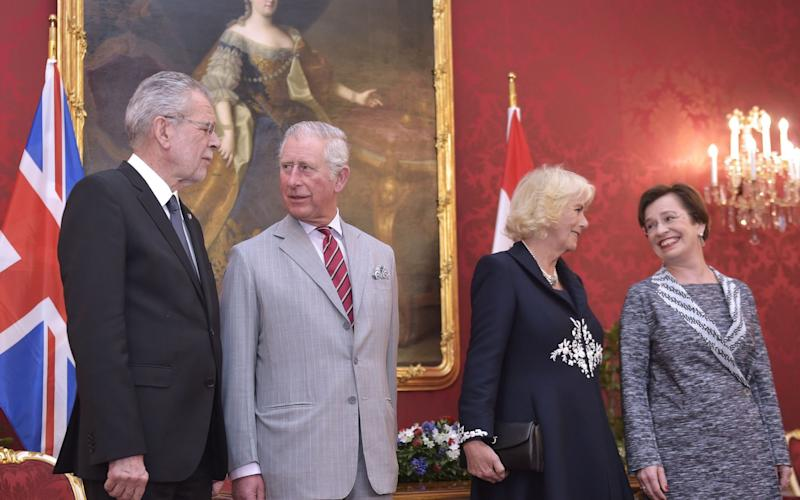 Austrian President Alexander Van der Bellen (L) and his wife Doris Schmidauer (R) welcome Prince Charles (2nd L), Prince of Wales, and his wife Camilla (2nd R) - Credit: Getty Images