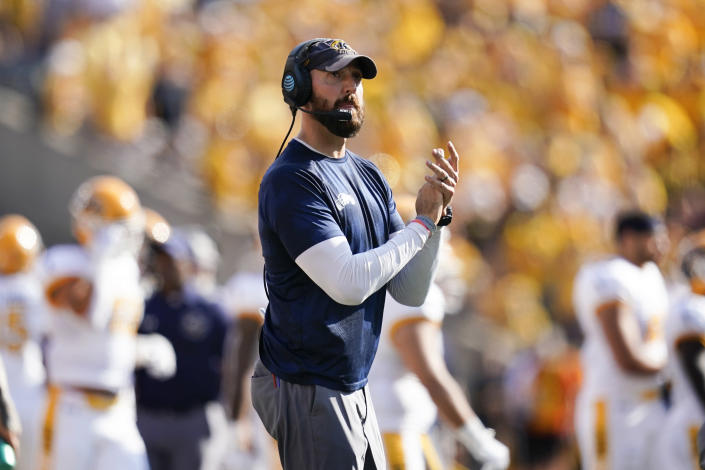 Kent State head coach Sean Lewis watches from the sideline during the first half of an NCAA college football game against Iowa, Saturday, Sept. 18, 2021, in Iowa City, Iowa. Iowa won 30-7. (AP Photo/Charlie Neibergall)