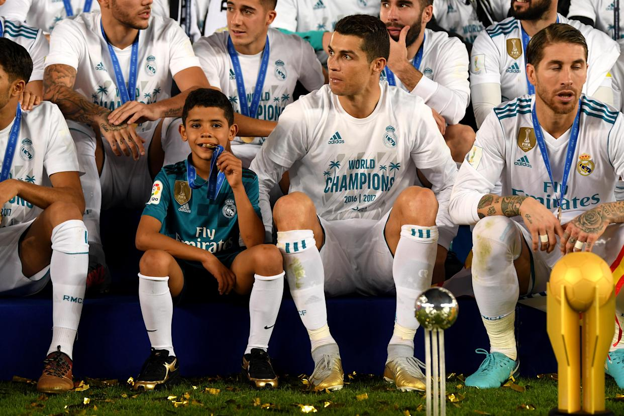 One to watch: Ronaldo says his son Cristiano Jr could go far in the game – but won't put pressure on him
