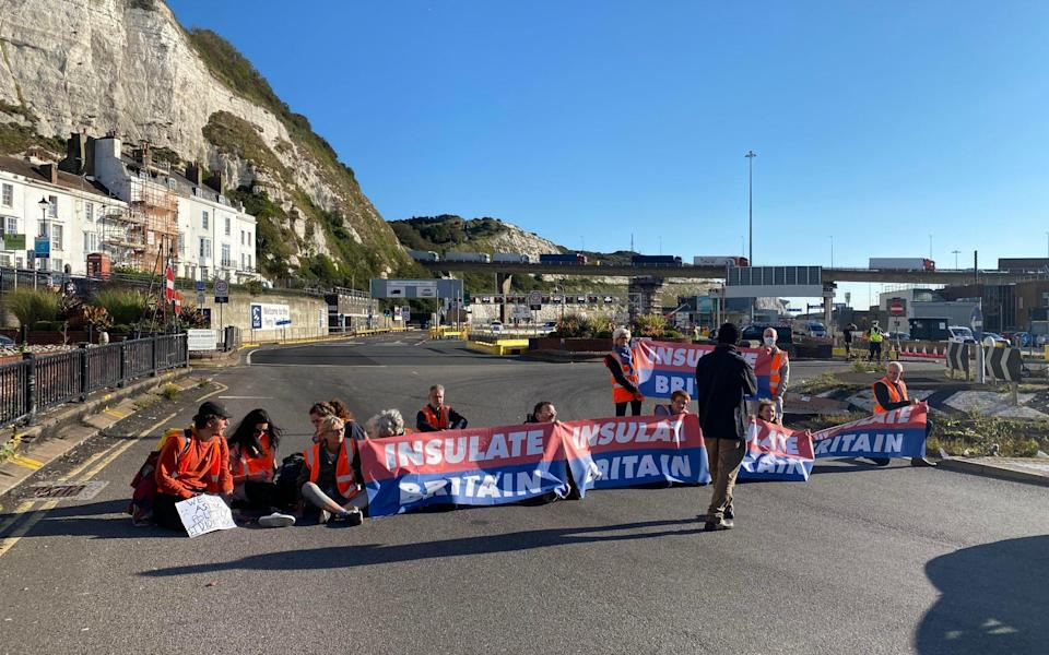 Insulate Britain activists block roads at the Port of Dover ferry terminal