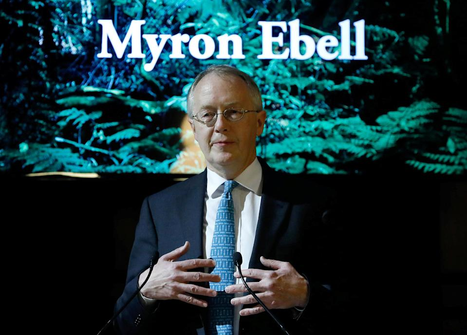 Myron Ebell, who leads U.S. President Donald Trump's Environmental Protection Agency's transition team, holds a speech at the Solvay library in Brussels, Belgium February 1, 2017. REUTERS/Yves Herman
