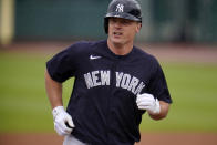 New York Yankees' Jay Bruce rounds second after hitting a solo home run off Pittsburgh Pirates pitcher Cody Ponce during the first inning of a spring training exhibition baseball game at LECOM Park in Bradenton, Fla., Saturday, March 6, 2021. (AP Photo/Gene J. Puskar)