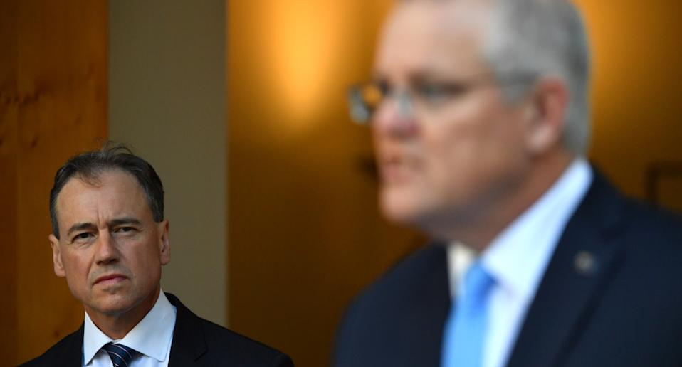 Greg Hunt and Prime Minister Scott Morrison at a press conference