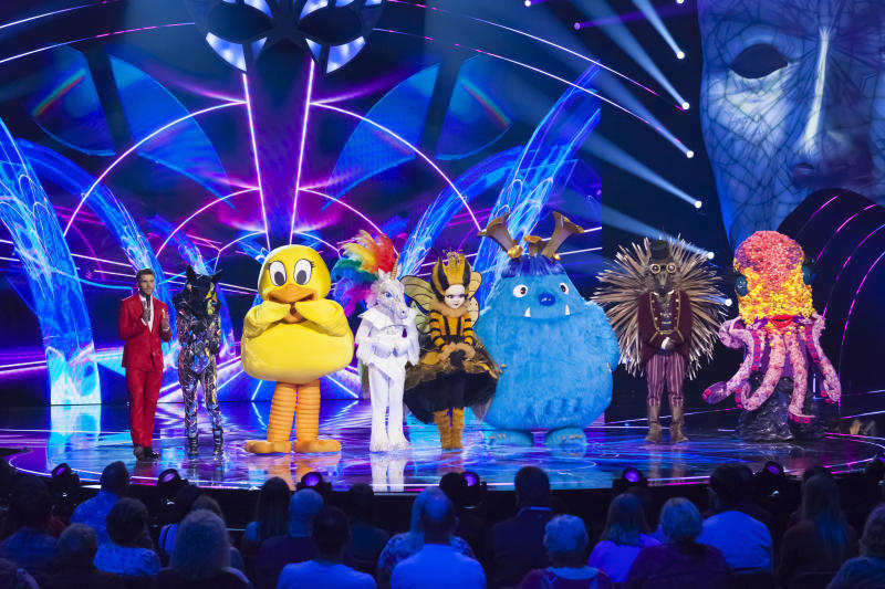 Fox, Duck, Unicorn, Queen Bee, Monster, Hedgehog and Octopus faced guest judge Sharon Osborne on 'The Masked Singer'. (Bandicoot TV/ITV)