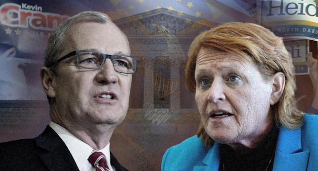 Rep. Kevin Cramer and Sen. Heidi Heitkamp (Photo illustration: Yahoo News; photos: Dan Koeck/Reuters, Tom Williams/CQ Roll Call/Getty Images, BjArn Kindler/Getty Images, Zach Gibson/Getty Images, Dan Koeck/Reuters, Will Kincaid/AP)