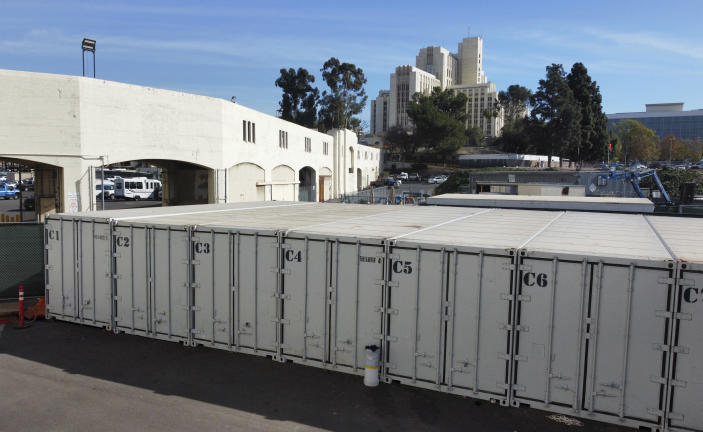 This photo provided by the LA County Dept. of Medical Examiner-Coroner shows temporary storage for COVID-19 deaths at LA County Medical Examiner-Coroner Office on Tuesday, Jan. 12, 2021 in Los Angeles. The temporary storage will relieve pressure from overwhelmed hospitals and mortuaries who can't accommodate the deceased. (LA County Dept. of Medical Examiner-Coroner via AP)