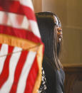 The newest member of the Missouri Supreme Court, Judge Robin Ransom, is shown waiting to be introduced by Gov. Mike Parson during a press conference Monday, May 24, 2021, at Parson's Capitol office in Jefferson City, MO. Ransom was selected from 25 applicants for the position. (Julie Smith/The Jefferson City News-Tribune via AP)