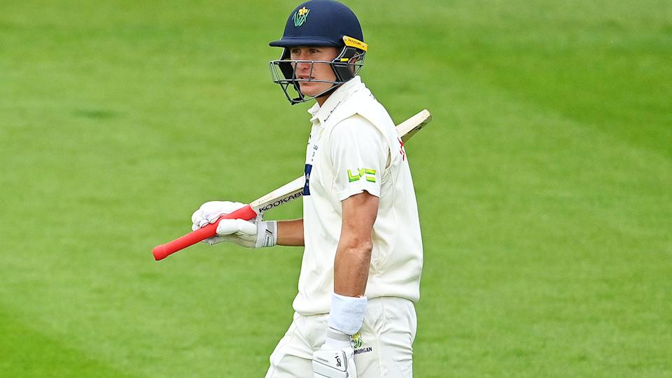Marnus Labuschagne, pictured here after being dismissed by Darren Stevens in the County Championship.