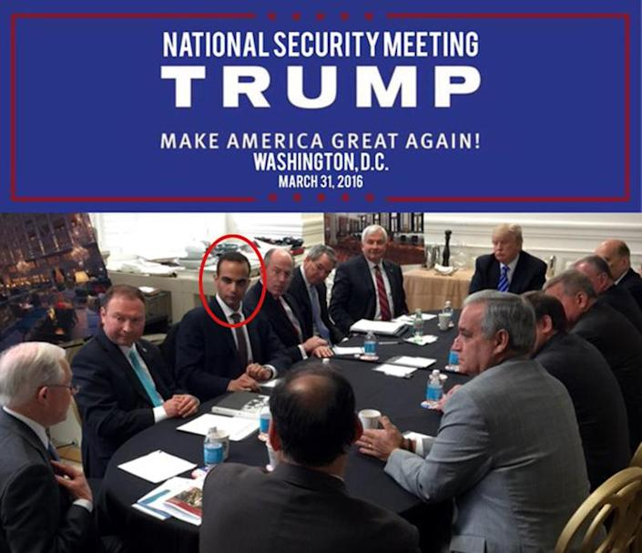 A photo published on Donald Trump's Instagram of George Papadopoulos (circled by Yahoo News) at a Trump campaign national security meeting in March 2016.