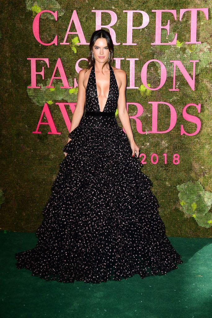<p>Model Alessandra Ambrosio attended the Green Carpet Fashion Awards 2018 in a sweeping polka dot dress. <em>[Photo: Getty]</em> </p>