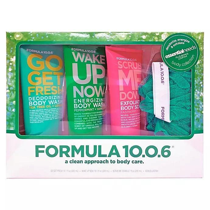 <p>Turn your shower routine into a spa-like experience with the <span>Formula 10.0.6 Essential Needs Body Collection</span> ($10, originally $20). It comes with a tea tree oil and lemon body wash, a peppermint and vanilla body wash, and a raspberry and ginger body scrub.</p>