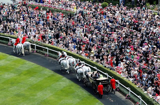 Horse Racing - Royal Ascot - Ascot Racecourse, Ascot, Britain - June 22, 2018 General view during the royal procession before the start of the racing Action Images via Reuters/Andrew Boyers