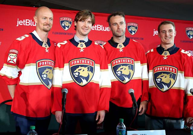 Bobrovsky (second from left) has a big contract to live up to. (Charles Trainor/Miami Herald/TNS via Getty Images)