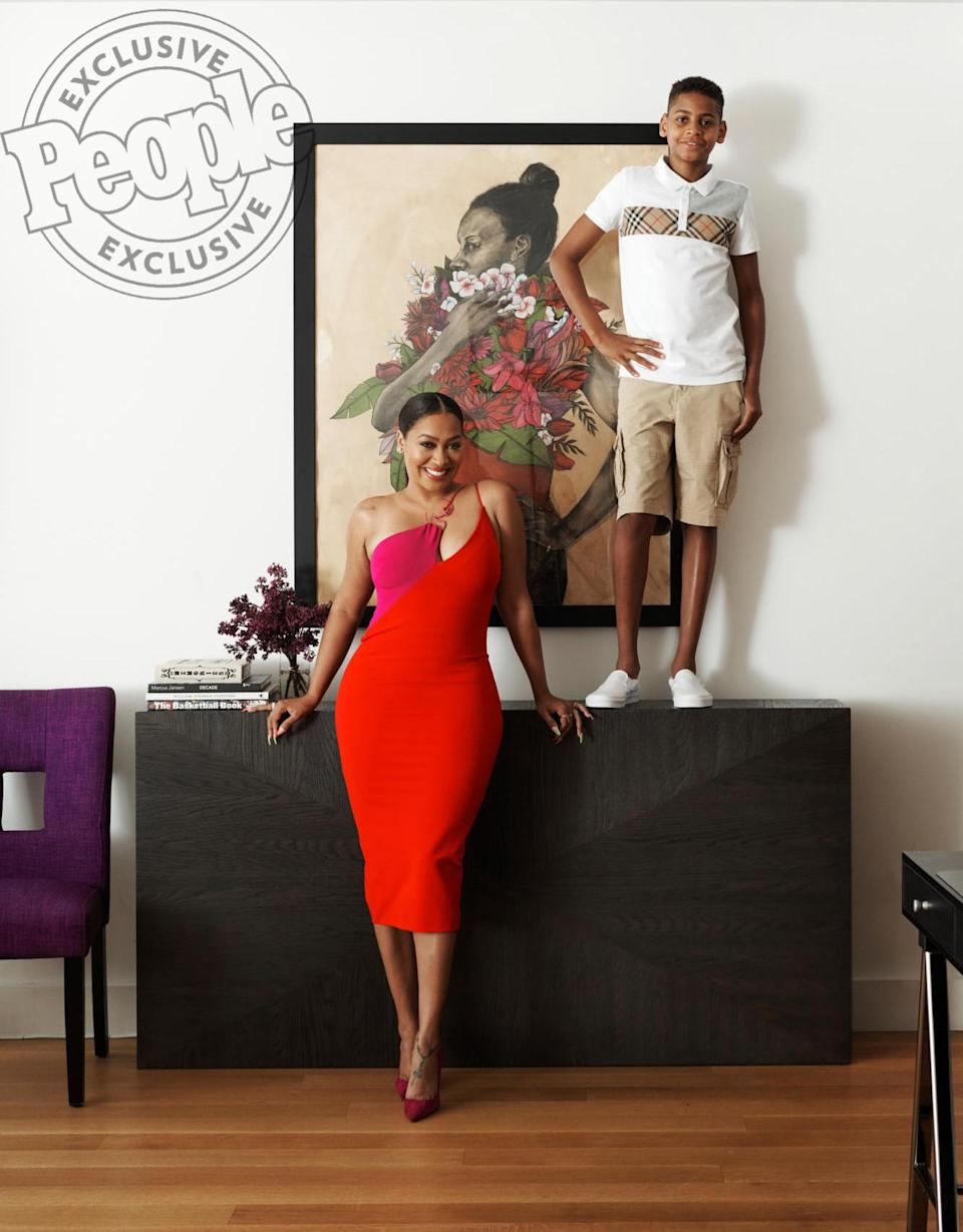 """<p>The <em>Power</em> actress and her 13-year-old son, Kiyan (whom she shares with Carmelo Anthony), live together in an airy and sophisticated, 2,300-square-foot loft in Manhattan.</p> <p>Though she did hire a decorator to spruce up the three-bedroom, three-bath place with a """"cool, young, modern"""" vibe, Anthony says she prioritizes comfort over flash.</p> <p>""""I'm not about living in a museum and not being able to touch things,"""" she told PEOPLE in July 2019. """"I care more about it being a family home than an elegant home.""""</p> <p><a href=""""https://people.com/home/la-la-anthony-opens-up-her-glamorous-nyc-home-with-a-basketball-hoop-in-the-living-room/"""" rel=""""nofollow noopener"""" target=""""_blank"""" data-ylk=""""slk:See more photos of La La Anthony's home."""" class=""""link rapid-noclick-resp"""">See more photos of La La Anthony's home.</a></p>"""