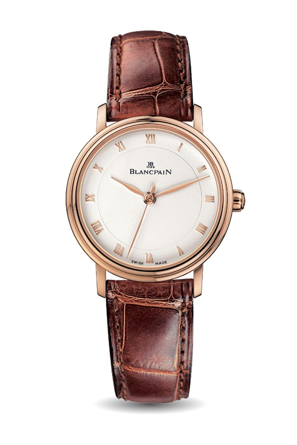 """<p><strong>Blancpain</strong></p><p>blancpain.com</p><p><a href=""""https://www.blancpain.com/en/women/ultraplate-6102-3642-55a"""" rel=""""nofollow noopener"""" target=""""_blank"""" data-ylk=""""slk:Shop Now"""" class=""""link rapid-noclick-resp"""">Shop Now</a></p><p>If you're not fully committed to rose gold, this take on the metal is ultra subtle. </p>"""