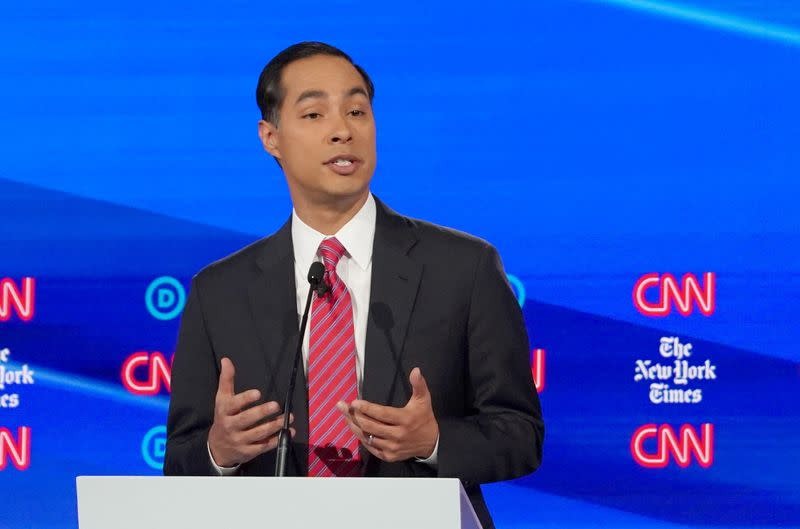 FILE PHOTO: Democratic presidential candidate and former Housing Secretary Julian Castro speaks during the fourth U.S. Democratic presidential candidates 2020 election debate in Westerville, Ohio