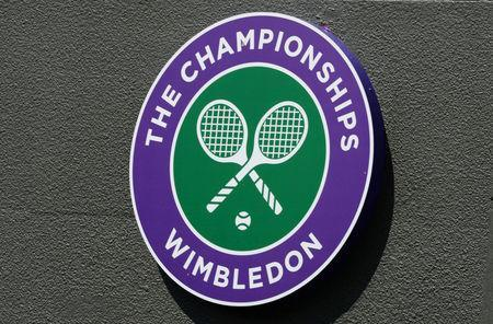 FILE PHOTO: Tennis - Wimbledon - All England Lawn Tennis & Croquet Club, Wimbledon, England - 25/6/13 General view of the Wimbledon logo Mandatory Credit: Action Images / Tony O'Brien/File Photo