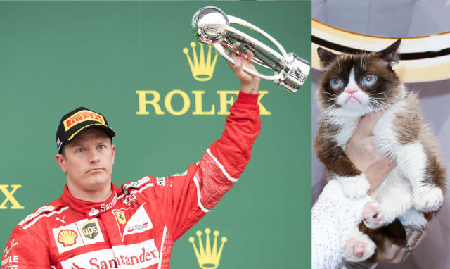 Grumpy Cat got your tongue, Kimi? One of these characters is hot favourite to smile after an F1 race this year. And it's not the geezer with the trophy