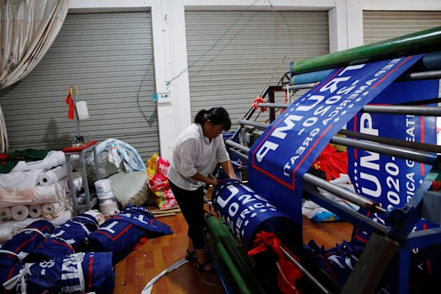 "<p>A worker makes flags for U.S. President Donald Trump's ""Keep America Great!"" 2020 re-election campaign at Jiahao flag factory in Fuyang, Anhui province, China July 24, 2018. (Photo: Aly Song/Reuters) </p>"