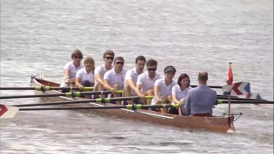 Britain's Prince William beats his wife Catherine in a rowing boat race where they coxed rival teams in Germany. Rough cut (no reporter narration).