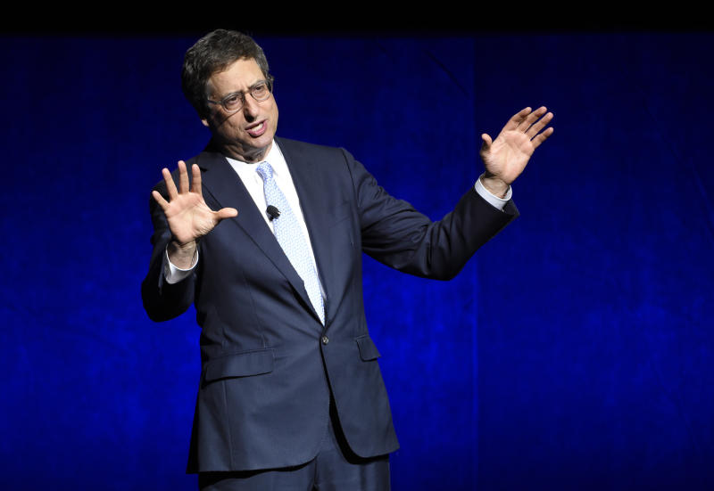 Tom Rothman, chairman of Sony Pictures Entertainment Motion Picture Group, addresses the audience during their presentation at CinemaCon 2018. (Photo by Chris Pizzello/Invision/AP)