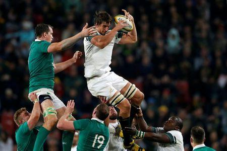 Rugby Union - Rugby Test - Ireland v South Africa - Johannesburg South Africa - 18/06/16. South Africa's Eben Etzebeth (R) wins a lineout.   REUTERS/Siphiwe Sibeko   Picture Supplied by Action Images