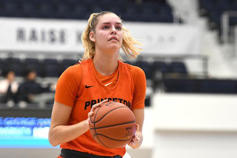Bella Alarie #31 of the Princeton Tigers takes a foul shot during a women's basketball game against the George Washington Colonials at the Smith Center on November 102019 in Washington, DC. (Photo by Mitchell Layton/Getty Images)