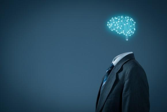 A hologram brain hovering over an empty suit