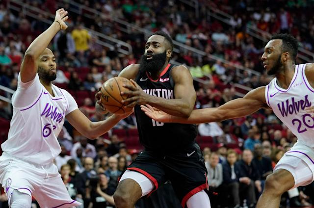 James Harden saw his streak of 303 home games with a free throw broken, but it didn't matter in a win over the Timberwolves. (AP)