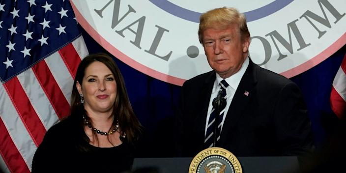 President Donald Trump with RNC Chairwoman Ronna McDaniel.