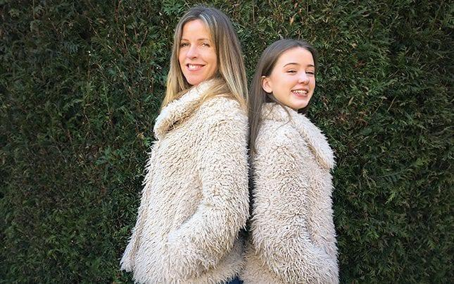 Liz Stout and her daughter Lula in their matching faux-fur jackets  -