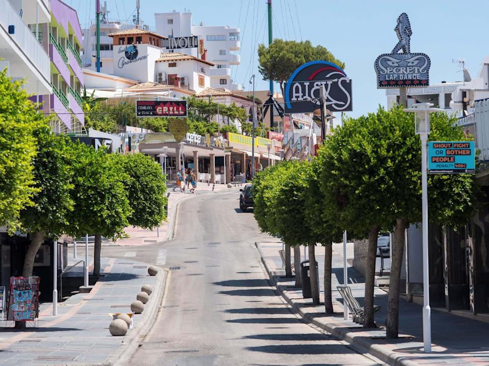 View of Punta Ballena street in Magaluf, Baleares, Spain: EPA