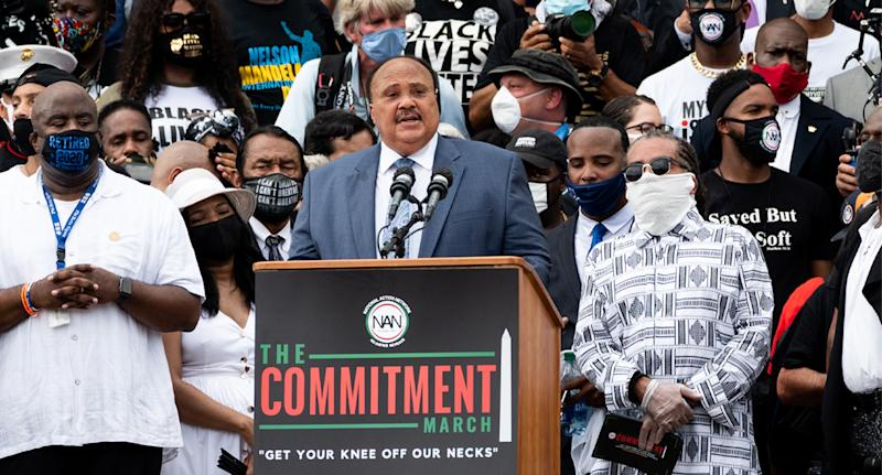 Martin Luther King III speaking at the National Action Network (NAN) Commitment March at the Lincoln Memorial on the National Mall. Source: AAP