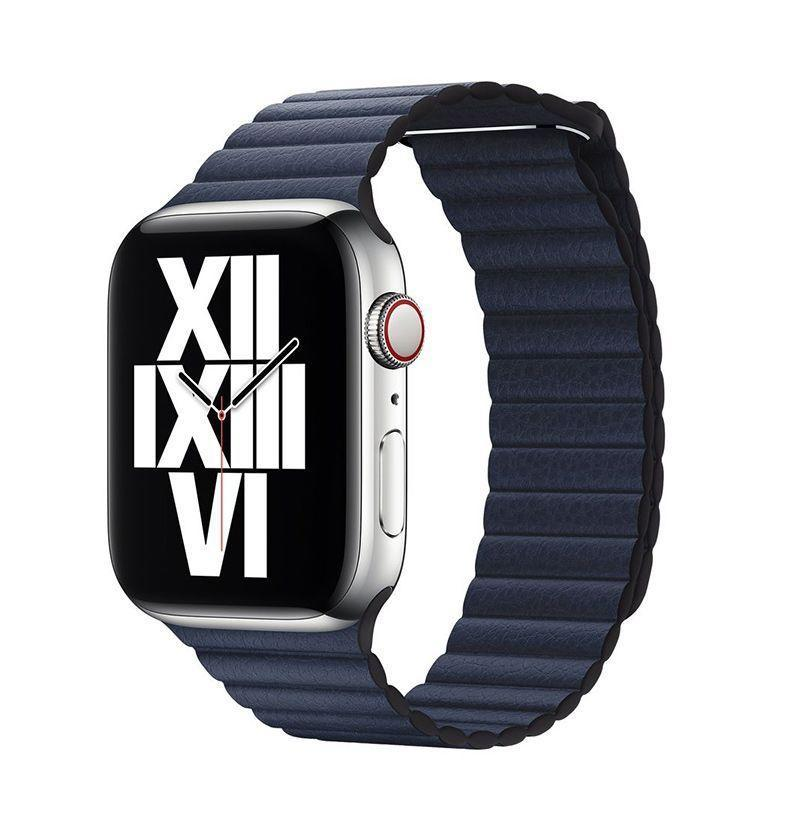 """<p><strong>Apple</strong></p><p>amazon.com</p><p><strong>$99.00</strong></p><p><a href=""""https://www.amazon.com/Apple-Watch-Leather-Loop-44mm/dp/B07XR6GYZJ?tag=syn-yahoo-20&ascsubtag=%5Bartid%7C10054.g.36008308%5Bsrc%7Cyahoo-us"""" rel=""""nofollow noopener"""" target=""""_blank"""" data-ylk=""""slk:Buy"""" class=""""link rapid-noclick-resp"""">Buy</a></p><p>Same with this one. With the addition of a loop and a little more of a soft, pebbled-looking leather, this one is a great magnetic leather choice. </p>"""