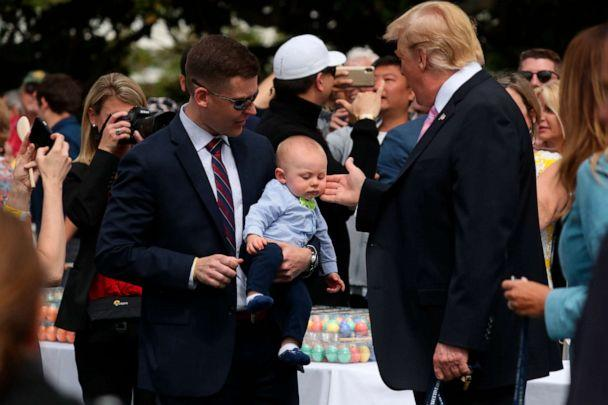 PHOTO:President Donald Trump, joined by first lady Melania Trump, right, greet guests on the South Lawn of the White House, April 22, 2019, during the annual White House Easter Egg Roll. (Andrew Harnik/AP)
