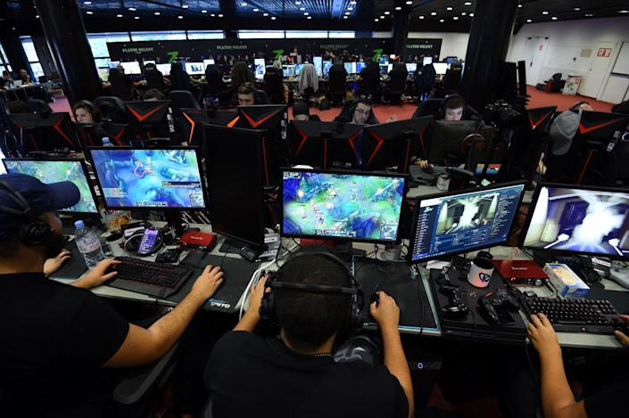 League of Legends players take part in a live streaming event in Montpellier, France, in September.