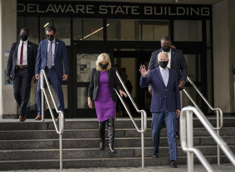 WILMINGTON, DE - SEPTEMBER 14: Democratic presidential nominee Joe Biden and wife Dr. Jill Biden depart the Delaware State Building after early voting in the state's primary election on September 14, 2020 in Wilmington, Delaware. Biden has scheduled campaign stops in Florida, Pennsylvania and Minnesota later this week. (Photo by Drew Angerer/Getty Images)