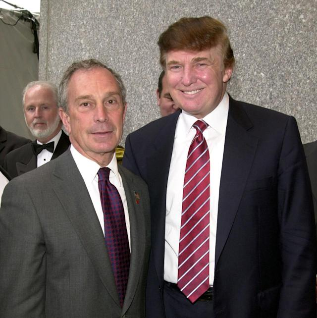 <p>New York Mayor Michael Bloomberg and Trump during the 20th anniversary gala for Vietnam Veterans of America in New York City on May 20, 2003. <i>(Photo: Djamilla Rosa Cochran/WireImage)</i> </p>