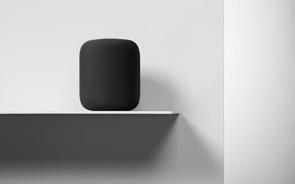 HomePod on a shelf