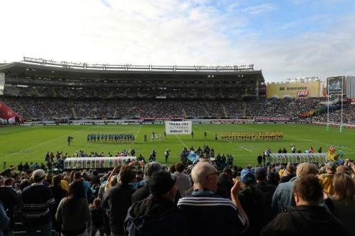 Eden Park was packed with 43,000 for the Super Rugby match between the Auckland Blues and Wellington Hurricanes following the lifting of coronavirus restrictions in New Zealand