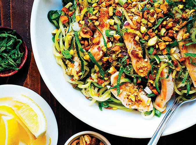 "<h2>2. Zucchini Pasta with Chicken and Pistachios</h2> <p>Because every veggie tastes better spiralized.</p> <p><a class=""cta-button-link"" href=""https://happybodyformula.com/zucchini-pasta-with-chicken-pistachios/"" target=""_blank"">Get the recipe</a></p>"