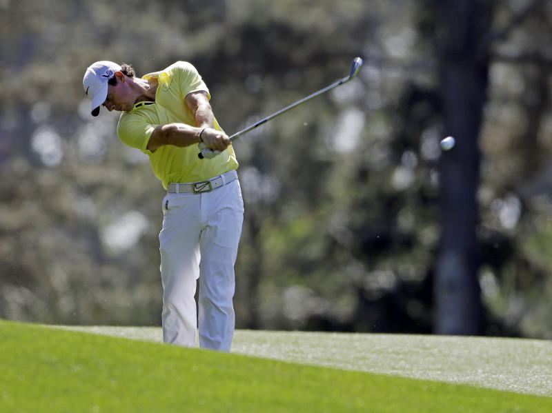 Rory McIlroy, of Northern Ireland, hits off the 15th fairway during a practice round for the Masters golf tournament Wednesday, April 10, 2013, in Augusta, Ga. (AP Photo/Darron Cummings)