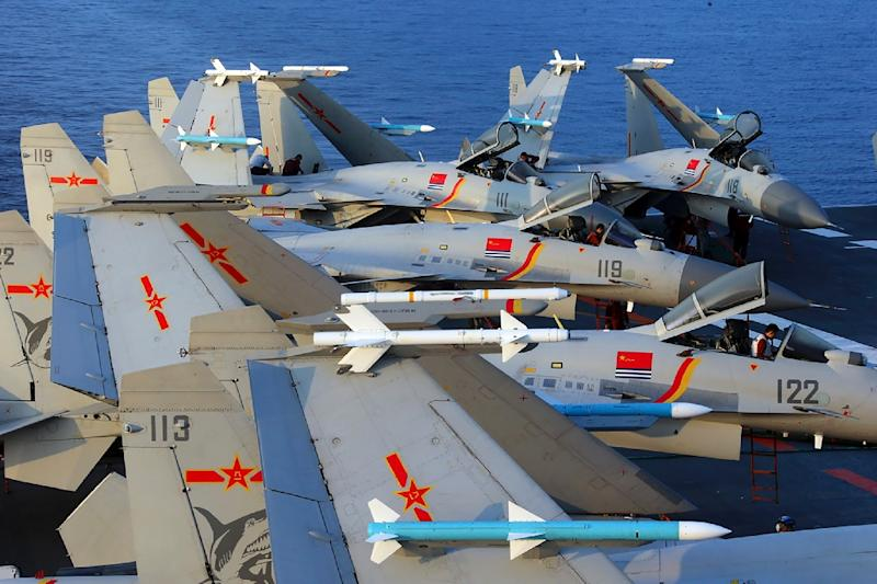 China has stepped up military drills in the Taiwan Strait, led by its aircraft carrier the Liaoning (AFP Photo/-)