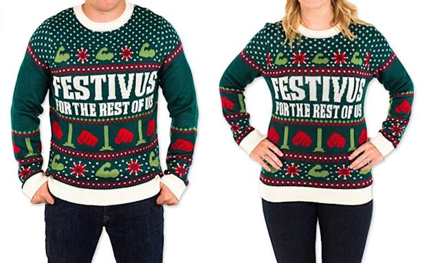 "<p>The feats of strength and the aluminum pole are both depicted in this perfectly festive nod to Festivus, Frank Costanza's holiday for the rest of us. <a href=""https://www.amazon.com/Festivus-Christmas-Sweater-Festified-X-Large/dp/B01EIG8HP6/ref=sr_1_1?ie=UTF8&qid=1511365981&sr=8-1&keywords=festivus+ugly+christmas+sweater"" rel=""nofollow noopener"" target=""_blank"" data-ylk=""slk:Buy here"" class=""link rapid-noclick-resp""><b>Buy here</b></a> </p>"