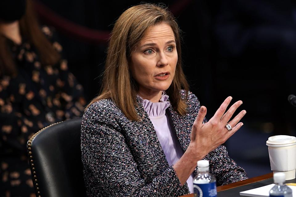Supreme Court nominee Judge Amy Coney Barrett testifies on the third day of her confirmation hearing before the Senate Judiciary Committee on Capitol Hill on October 14, 2020 in Washington, DC. (Greg Nash/Pool/AFP via Getty Images)